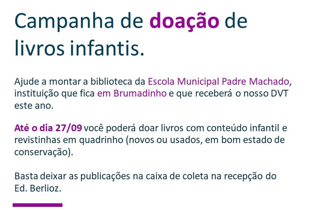 Campanha de doação de livros infantis