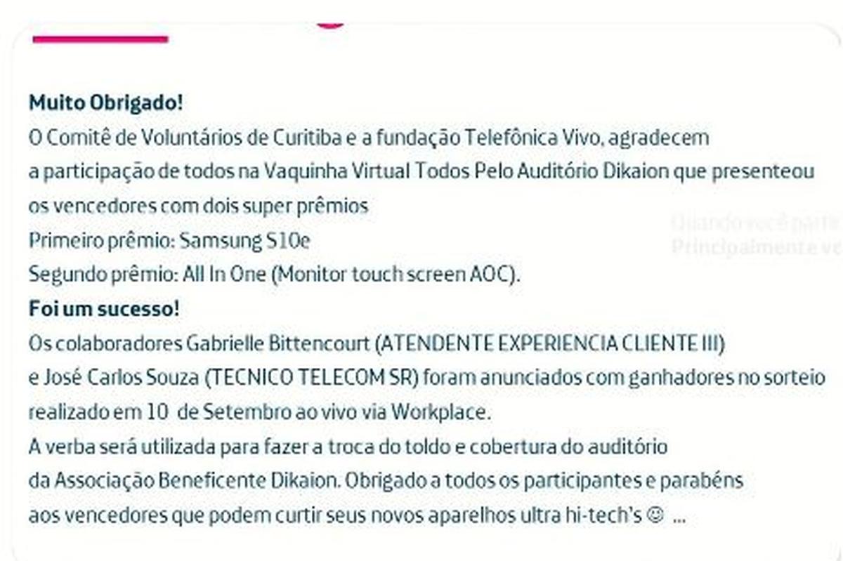 Entrega Prêmios Vaquinha Virtual
