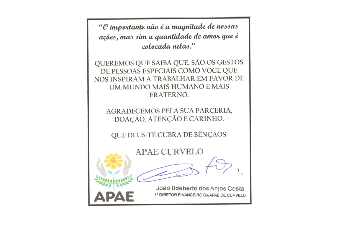 Campanha Amigos da APAE Curvelana