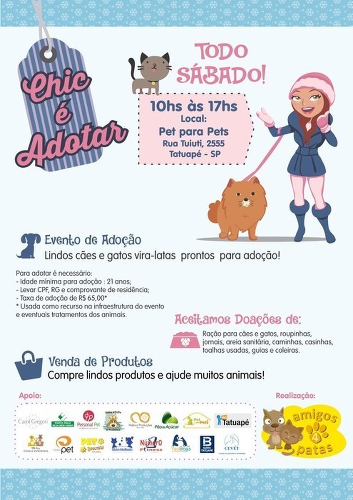 Evento de adoção - Projeto Amigos 4 Patas - 8 e 15 de julho no Tatuapé