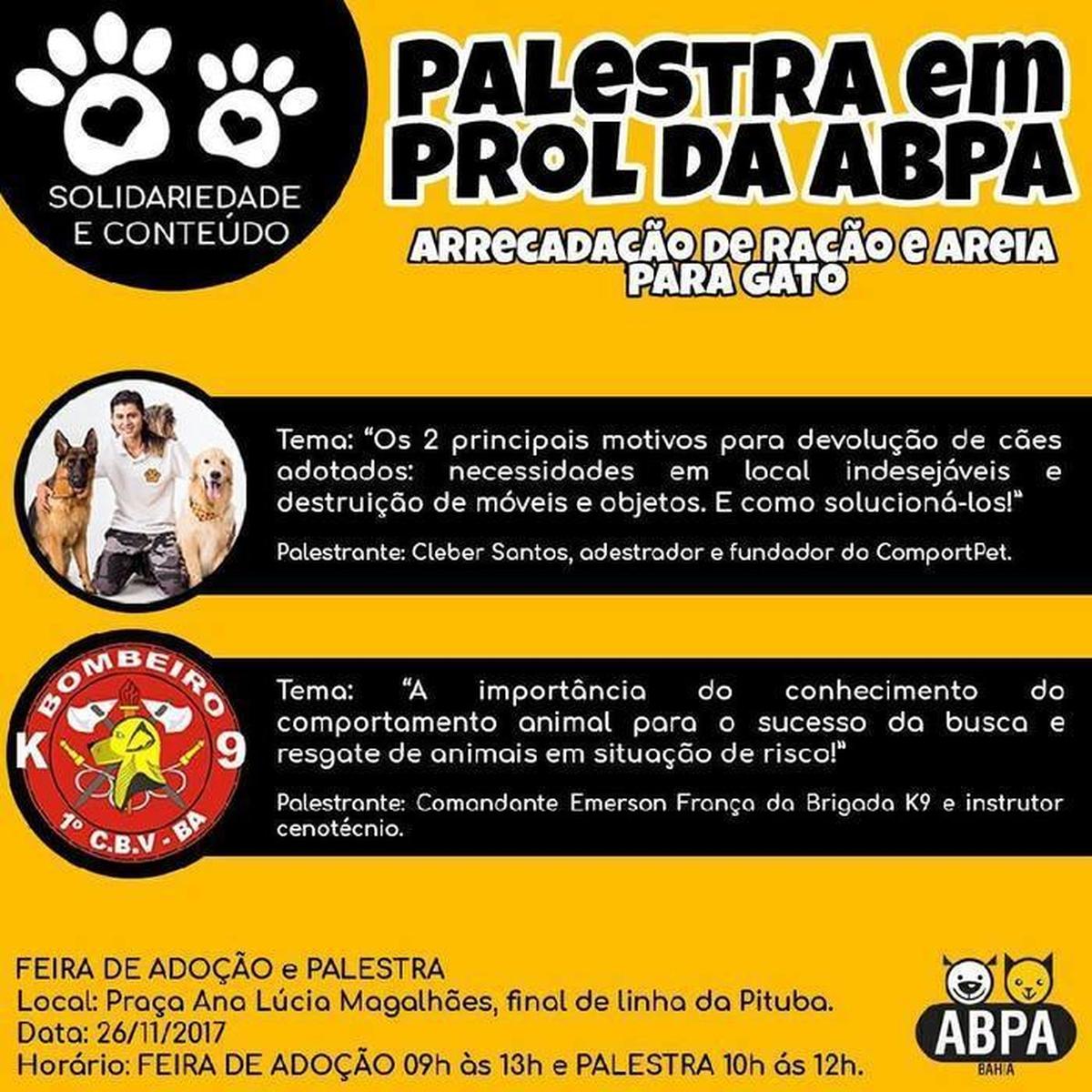 FEIRA DE ADOÇÃO ABPA-BA e PALESTRAS SOLIDÁRIAS