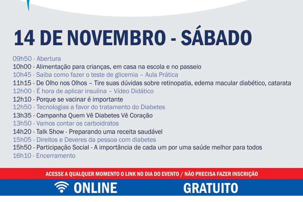 14 de novembro: ADJ Diabetes Brasil promove evento online