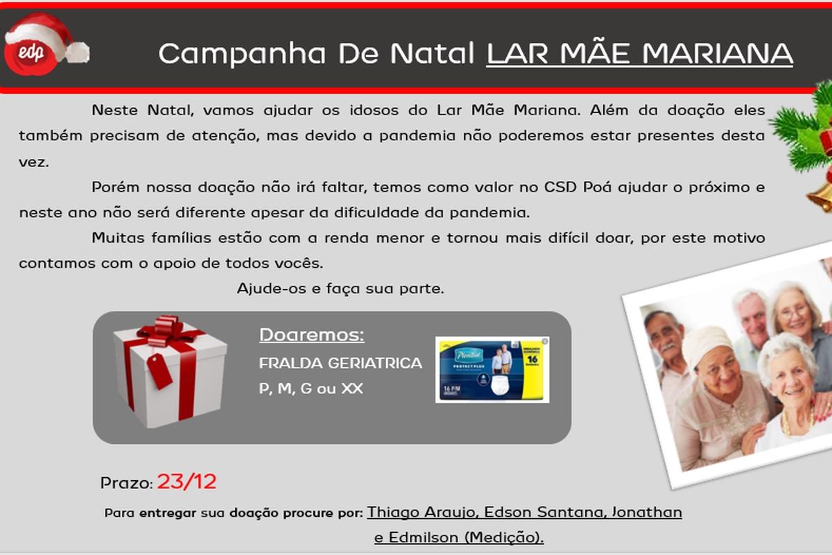 Campanha de Natal Lar Mãe Mariana